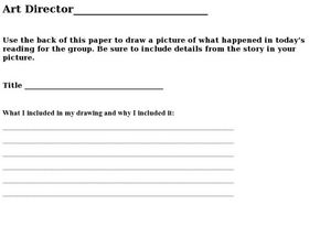 Literature Circles: Art Director Worksheet