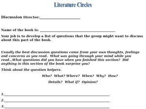 Literature Circles: Discussion Director Worksheet