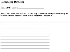 Connector Director: How Is a Book Like Real Life? Worksheet