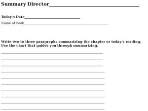 Literature Summary Sheet Worksheet