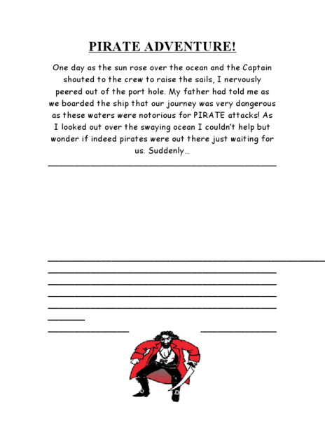 Pirate Adventure: Story Starter Worksheet for 2nd - 3rd