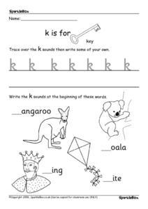 Printing Practice: k, l, m, n, o, p, q, r s Worksheet for