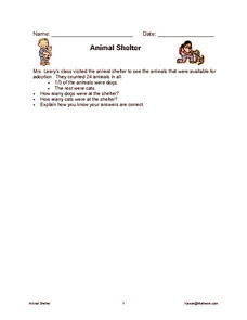 Animal Shelter Worksheet