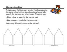 Houses in a Row Worksheet