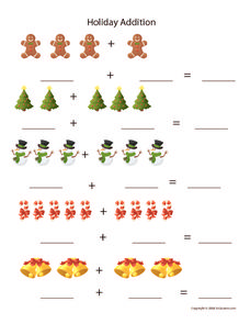 Holiday Addition Worksheet