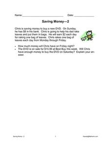 Saving Money - 2 Worksheet
