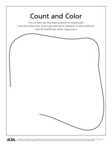Count and Color: Toothbrushes Worksheet