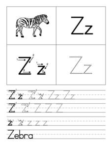 Zz is for Zebra Worksheet