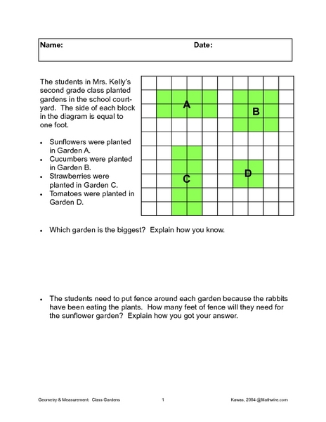 Area And Perimeter Of Gardens Worksheet For 3rd 4th