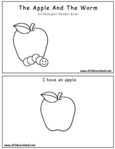 The Apple And The Worm - An Emergent Reader Book Worksheet