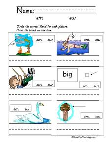 Consonant Blends - Sm and Sw Worksheet