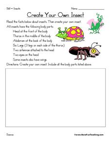 Create Your Own Insect Worksheet