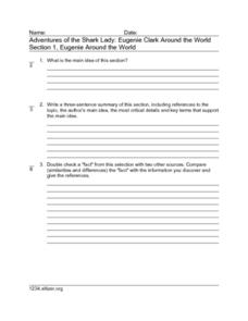 Adventures of the Shark Lady: Eugenie Clark Around the World Section 1, Eugenie Around the World Worksheet