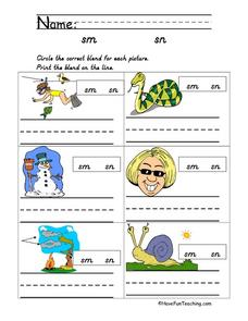 Sm and Sn Consonant Blends Worksheet