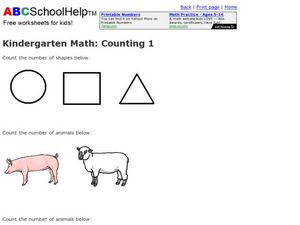 Kindergarten Math: Counting 1 Worksheet