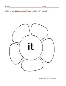 "Flower Sounds ""IT"" Worksheet"