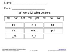 'At' Word Missing Letters Worksheet