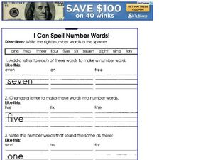 I Can Spell Number Words! Worksheet