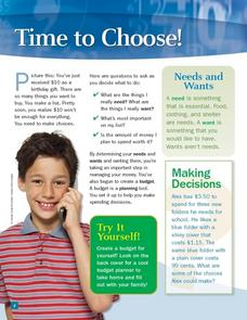 Time to Choose: Wants and Needs Worksheet