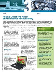 Asking Questions About Environmental Responsibility Worksheet