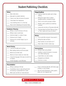 Student Publishing Checklists Worksheet