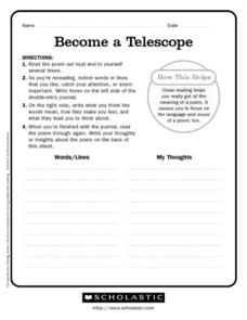 become a telescope poetry analysis worksheet for 6th 9th grade lesson planet. Black Bedroom Furniture Sets. Home Design Ideas
