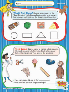 Curious George: What's That Shape and Tools Count! Worksheet