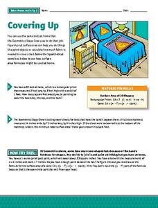 Covering Up! Surface Area Take Home Activity Worksheet