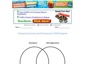 Comparing Animals and Decomposers Venn Diagram Worksheet