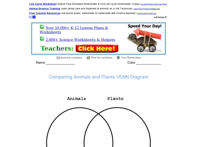 Comparing Animals And Plants Venn Diagram Graphic