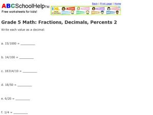 Grade 5 Math: Fractions, Decimals, Percents 2 Worksheet