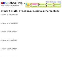 Grade 5 Math: Fractions, Decimals, Percents 5 Worksheet