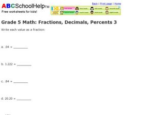 Grade 5 Math: Fractions, Decimals, Percents 3 Worksheet