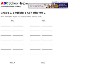 Grade 1 English: I Can Rhyme 2 Worksheet