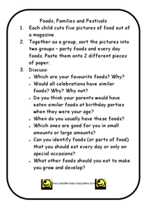 Foods, Families, and Festivals Worksheet