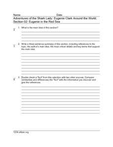 Adventures of the Shark Lady: Eugenie Clark Around the World, Section 02: Eugenie the Red Sea Worksheet