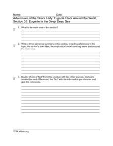 Adventures of the Shark Lady: Eugenie Clark Around the World, Section 03: Eugenie in the Deep, Deep Sea Worksheet