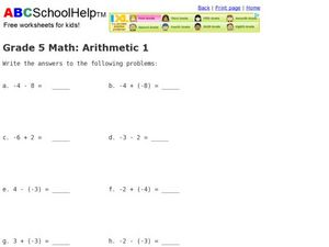 Integer Practice: Grade 5 Math Worksheet