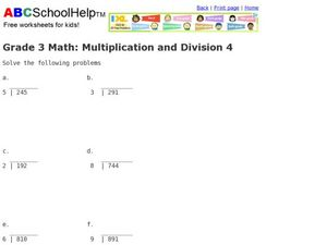 Multiplication and Division  4 Worksheet