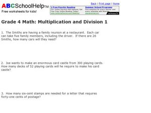 Multiplication and Division 1 Worksheet