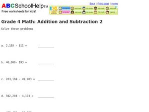 Grade 4 Math: Addition and Subtraction 2 Worksheet