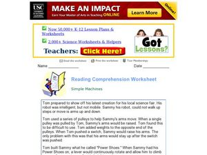 Simple Machines: Reading Comprehension Worksheet