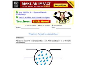 Weather Adjectives Graphic Organizer