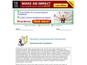 Hurricanes and Tornadoes: Reading Comprehension Worksheet