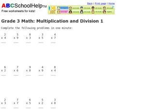Grade 3 Math: Multiplication and Division 1 Worksheet