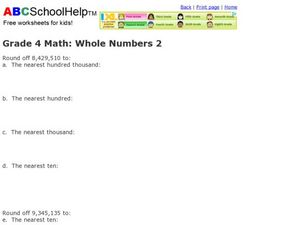 Grade 4 Math: Whole Numbers 2 Worksheet
