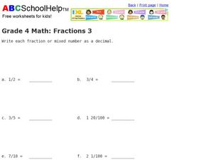 Grade 4 Math: Fractions 3 Worksheet