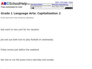 Grade 1 Language Arts: Capitalization 2 Worksheet