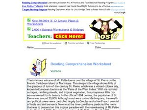 Reading Comprehension Worksheet: Volcano Worksheet