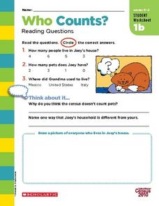 Who Counts? Reading Questions Worksheet